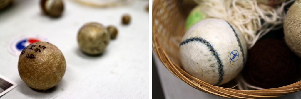Les pelotes, de différentes tailles et recouvertes d'un cuir souple cousu avec s