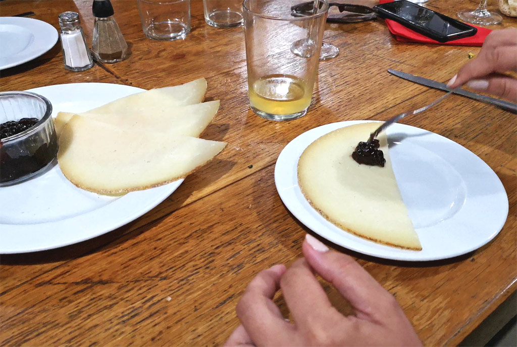 sheep's cheese and jam