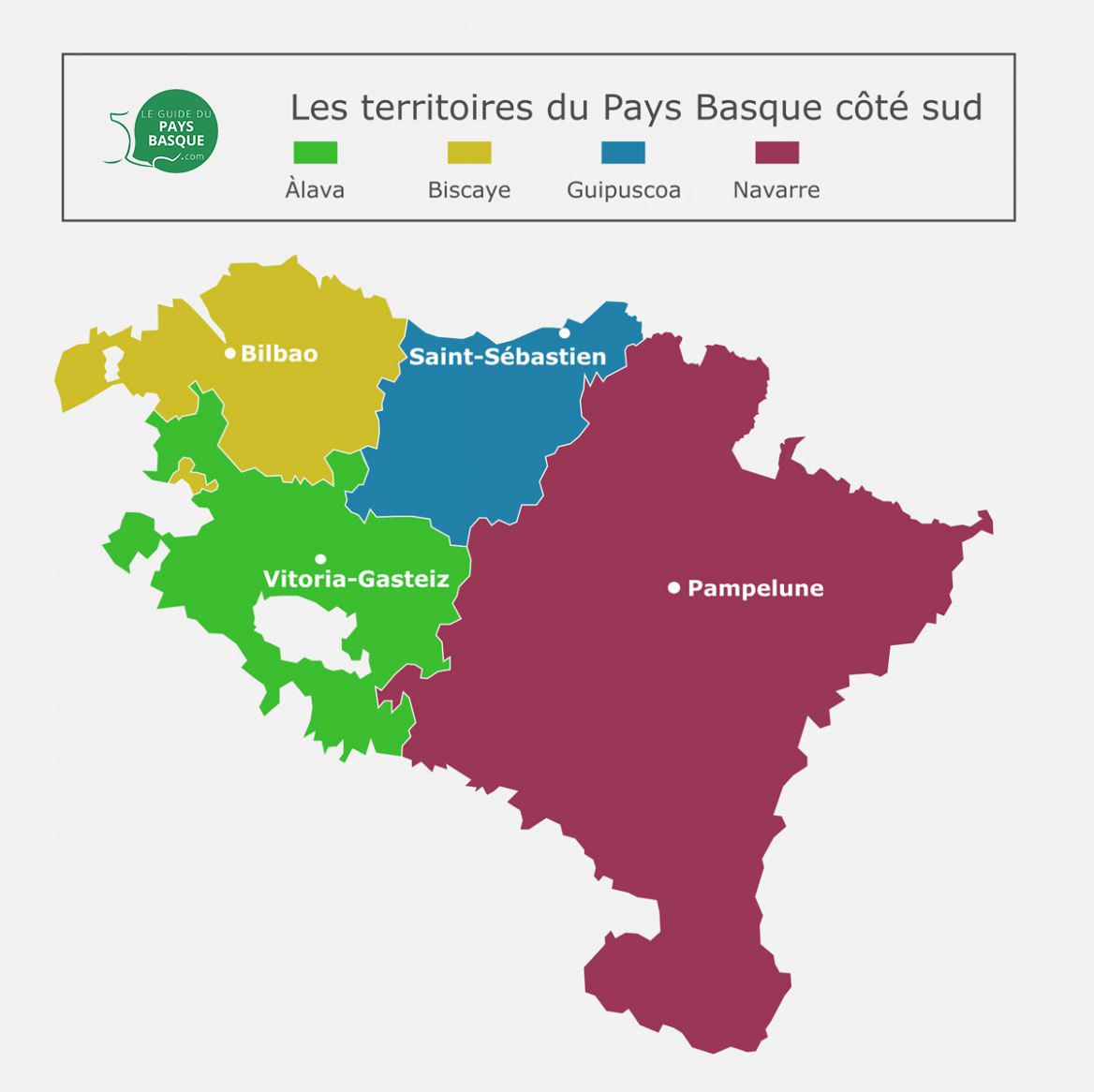 Carte des Povinces du Pays Basque Espagnol