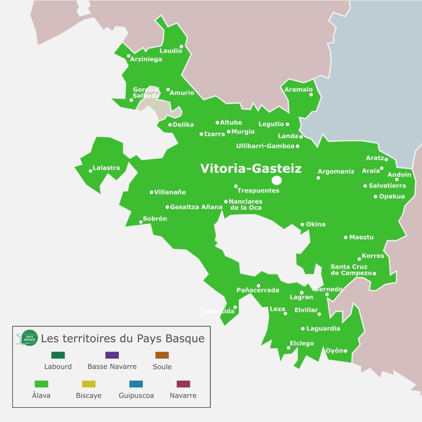 Mapa de Alava y sus principales ciudades